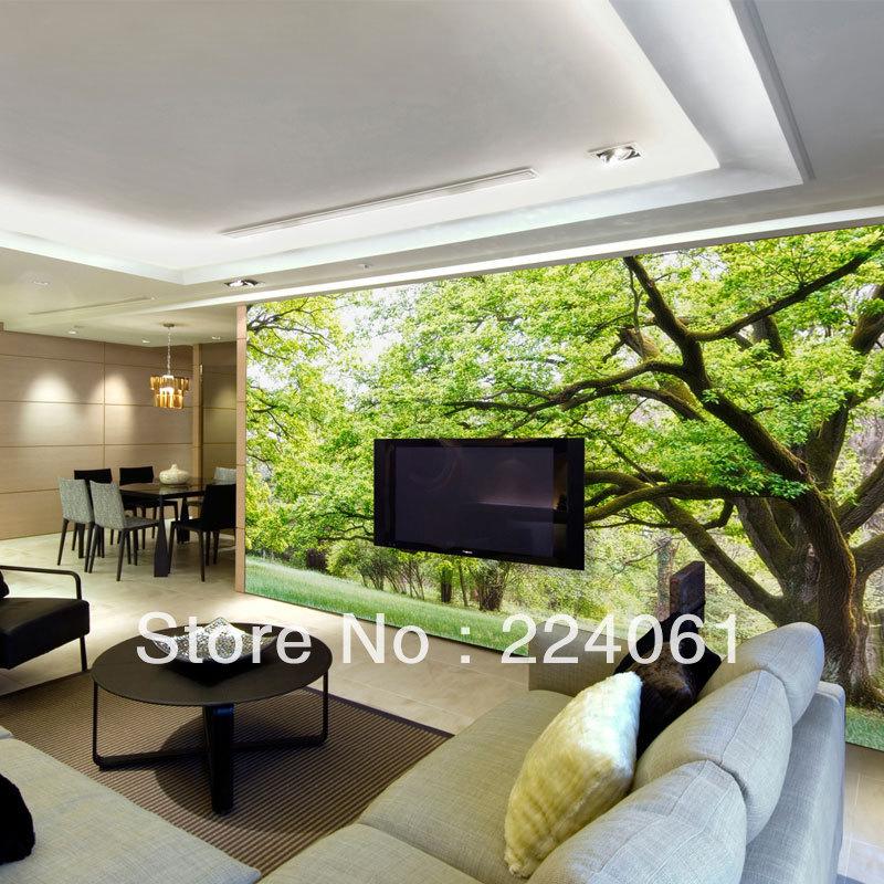 -drie-dimensionale-groen-bos-muurschilderingen-behang-voor-slaapkamer ...
