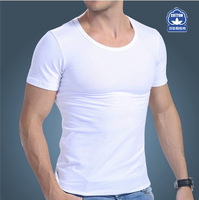 Mens Quality Cotton Short Sleeve Breathable Sweat Tight O-neck Undershirt For Men 3302 Free shipping