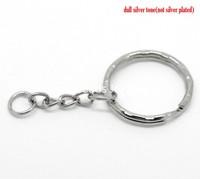 """Free Shipping! 30PCs Silver Tone Key Chains & Key Rings 53mm(2 1/8"""") long (B19405)"""