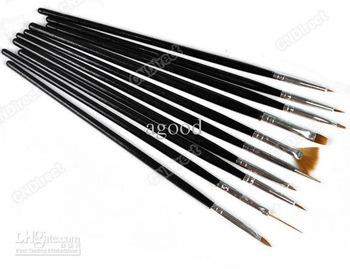 New Arrive: 10 PCS Gel Nail Art Design Tips Drawing Painting Pen Polish Brush Tool Set free shipping
