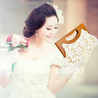 2013 New Designer White Bridal Lace Clutch Bag Wedding Clutch Bag Lace Evening Clutches For Women With Wood Handle Handbags bags