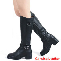 New Women Genuine Leather Shoes Fashion Round Toe Thick Heel High-leg Women Motorcycle Boots Vintage Riding Boots for Women
