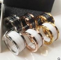 black and white ceramic ring 18K rose gold ring ceramic men and women fashion rings