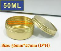 50Pcs/Lot 50ML Golden Color Aluminum Cosmetic Box Cream Jar With Screw Cap Wholesale Free Shipping
