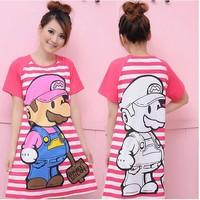 Female cartoon nightgown summer short sleeves sleepwear sweet leisure household to take