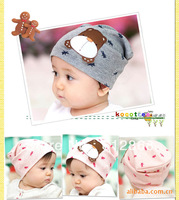 Ten Colors Cute Bear Dog Cap Kids Hats Cotton Beanie Infant Hat Children Baby Hat  6707(4-5)