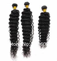 "Indian virgin hair extension 100% Human Hair 12""-26"" 100g/pc 3pcs lot curly hair natural color deep wave hair weft free shipping"