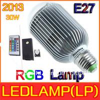 free shipping 4pcs/lot 2013 RGB LED Lamp Real 30W  RGB E27 Light Bulb Lamp with Remote Control Color Changing LED Bulb Lamp