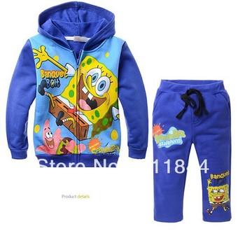 Wholesale children 's cartoon color blue SpongeBob printed brushed velvet hooded jacket + pants two-piece