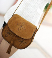 2014 bohemia handmade embroidery faux leather tassel buckle vintage small messenger bag women's bag