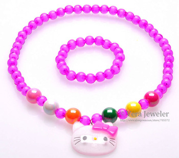 New 2013 Children Jewellery Set Jelly Hello Kitty Crystal Clear Beaded Necklace Bracelet Jewelry Set 3 Colors Wholesale 24sets