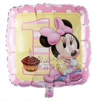 1 year old baby, kid child  Birthday decoration MINNIE 1 foil balloons