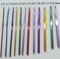 12 Sizes Multicolor Aluminum Crochet Hooks Needles Knit Weave Stitches Knitting /Latch Needle felt Crafts DIY  tool Set