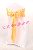 Gold Satin Chair Sash With White Color Chair Cover For Wedding