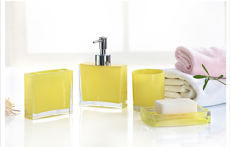 Shop popular yellow bathroom accessories from china for Yellow bathroom decor