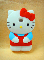 Hot!!! 3D hello kitty Silicone Back Cover Case for LG E400 Optimus L3  High Quality Cell Phone Case