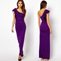 free shipping 2013 new women's fashion long bodycon one-shoulder casual maxi dress sexy evening skirt elegant long dresses