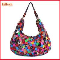 2014 Genuine Leather Women Handbag Fashion Petals Rivet Bag Patchwork Designer Totes Hobo E123