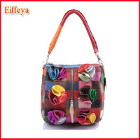 2014 Genuine Leather floral Bags Small Geometry Fashion Shoulder Bags Desigual Patchwork Handbags A733