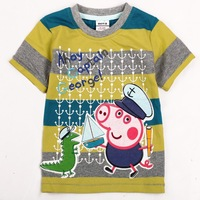 FREE SHIPPING C3962# Kids wear clothing 2013 fashion hot cotton peppa pig short sleeve t-shirts