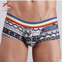 Personality Casual Boxer Underwear Men Cotton Comfortable Trunks Boxer Underwear  Free shipping