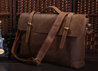 Free Shipping New  Crazy Horse leather Mens Briefcase Laptop Bag Portfolio Business Bag Document Bag 5Pcs/Lot  #7082R