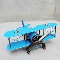 Brand new Retro Airlines Blue Metal biplane plane model aircraft toy size : 20 X 21.5 X 9 CM
