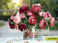 Free shipping 2pcs silk flower artificial flower 10 heads/lot Hand stick flowers bride rod flower decoration for wedding