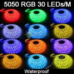 100m/lot hot sale waterproof led strip SMD5050 30leds/m flexible stip light+20pcs. 24keys controller,rgb led strip free shipping