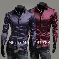 Free Shipping New 2013 Men's Purple Silk Shirt Sport Shiny Poplin Items Mens Slim Fit Dress Shirts Casual Men Shirts