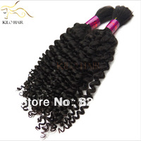 Kilohair products 4pcs 400g lot full head 1B Natural Brazilian Braid Human Hair Bulk Curly Wave no weft
