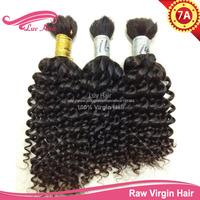 Ms lula hair products 100% raw Virgin Bulk Hair for braiding Curly Brazilian hair extension human braiding hair no attachment