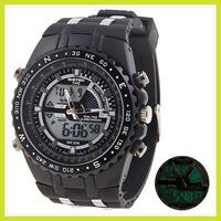 Mutifunction LED 30M Diving Climbing Waterproof Digital Army Military Back Light Rubber Quartz Sport Wrist Watch for Men Free