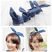Fashion Korea Rabbit Bunny Ears DIY Wire Headband Scarf Hair Band Bow Head Wrap Polkadot FREE SHIPPING 20PCS/LOT