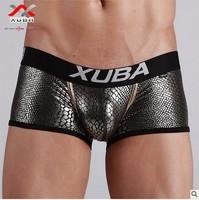 Sexy Black Snake Scales Pattern Men Spandex Boxer Trunks Underwear  (S M L XL ) Free shipping