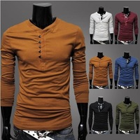 LT007 Fashion Style Men's Pure Color Single Breasted Slim Casual Long Sleeve T-shirts 4 Sizes 6 Colors Free Shipping
