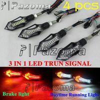 4 pcs Pazoma Motorcycle  3 in 1 LED Mini turn signals indicator with Daytime Running Light / taillight brake light for honda cb