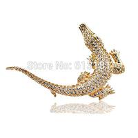 2014 Fashion Luxury Austrian crystal Crocodile Brooch Pins 18K Gold Plated Top Quality Rhinestone Animal Brooch Brand