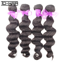 "4pcs lot unprocessed Brazilian virgin hair weave loose wave human hair weft 10""-28inch natural color 1B Free shipping"