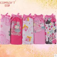 Free shipping Girls Comsoft 100% cotton mid waist print underwear triangle panties children Briefs kids panties  5pcs/lot