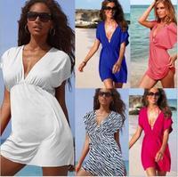 2014 New European And American Ice Silksand Beach Skirt Bikini Beach Vacation Outside Smock Beach Dress Free Shipping