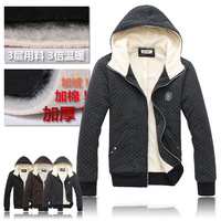 2013 Male autumn and winter plus velvet thickening casual lovers 100% cotton with a hood sweatshirt cardigan male outerwear
