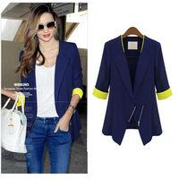 2014 new fashion New Hot chic women blazer three quarters Innovative oblique zipper brand blazer for women  free shipping  nz36