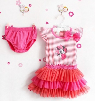 2014 Free shipping  Hot selling New Arriving baby set Baby suit minnie striped shirt tutu dresses+short pants girls suit GQ-240