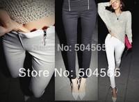 New Fashion Korea Zipper Leggings Women's Sexy Skinny Pencil Pants Black White Stretch Material Leggings LG-421