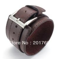fashion Punk rock stainless steel leather black men bracelet bangles free shipping 73862