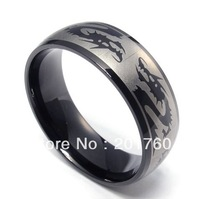 fashion personalized Stainless steel black chinese dragon men ring free shipping 73955
