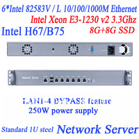 Intel Xeon E3-1230 v2 3.3Ghz H67/B75 six Intel 82583V Gigabit LAN soft routing flow control Firewall ROS  WAYOS network server