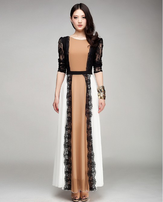 2014 New arrival Autumn winter one-piece long dress original design dress nude color full linning black lace chiffon dress WTP2(China (Mainland))