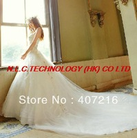 DHL free 2013 Strapless formal dress train wedding dress sparkling diamond wedding dress 913 Ball Gown